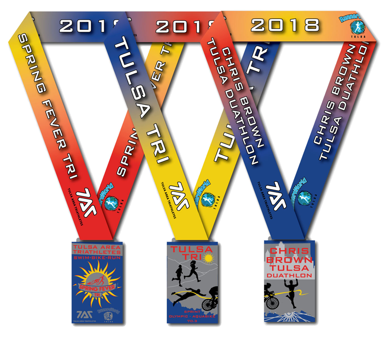 2018 TAT Race Series Medals for Spring Fever Sprint Triathlon, Tulsa Triathlon and Chris