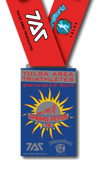 Custom Finisher's Medal for the 2018 Spring Fever Sprint Triathlon