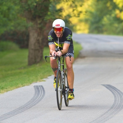 Josh May enjoys his 12 mile bicycle ride during the 2019 Chris Brown Duathlong in Tulsa Oklahoma