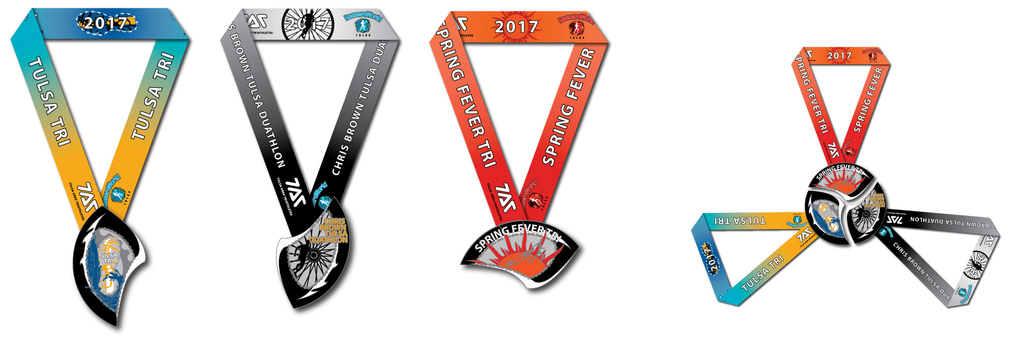 2017 TAT Race Series Medals for Spring Fever Sprint Triathlon, Tulsa Triathlon and Chris