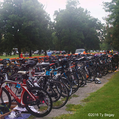 Bikes are racked and ready in the transition area for the 2016 Chris Brown Duathlon