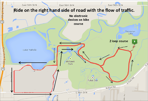 Map of Chris Brown Duathlon bike route at Mohawk Park