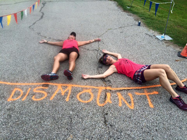 Susan Martinac and Laura Bloxom put all of their effort into the Chris Brown Duathlon