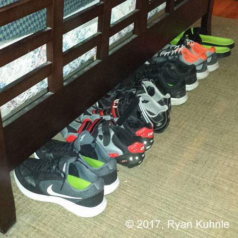 Several pairs of shoes are required for multi-sport training