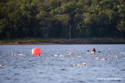 Open water swim at the 2016 Tulsa Triathlon at Birch Lake near Barnsdall, Oklahoma