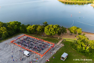 Arial view of the transition area of the Tulsa Triathlon at Birch Lake